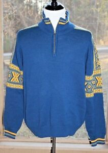 Columbia Size Large Blue Sweater Knit 100% Wool 1/4 Zip Fair Isle Sweater (AG)