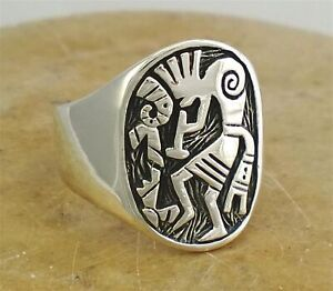 EXQUISITE LARGE STERLING SILVER KOKOPELLI RING size 10 style# r0216
