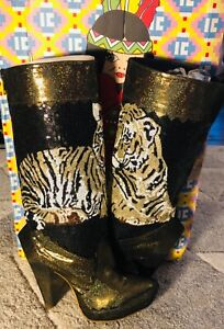 Irregular Choice Very Rare Vanessa Sequin Tiger Knee High Boots UK4 EU37