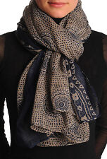Dark Blue Aztec Sun On Mocha Unisex Scarf and Beach Sarong (SF001423)