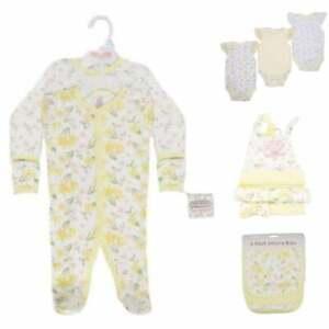 11pc baby girl starter layette set 100% cotton - Lemon Floral ideal for hospital