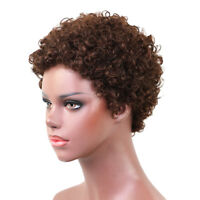 Afro Short Curly Wig for Black Women Real Human Hair Full Wigs Natural Brown