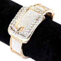 Damen Armband Armreif  Silber Glänzend Modeschmuck Mode Uhr mit Strass Kristall