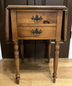 Vintage Wood Drop Leaf Gateleg Side End Table 2 Drawer