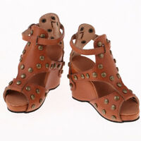 Delicate 1/3 BJD Doll Rivet Shoes Wedge Sandals For Dollfie Outfit Brown