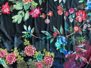 Johnny Was BLACK DREAMER Reversible 40 x 70 Beach Towel Flower Blanket Bag NEW