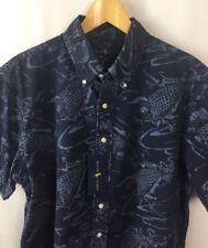 Ralph Lauren Shirt Blue Label Size 2XB Koi Fish Print Cotton Slim Fit New A36