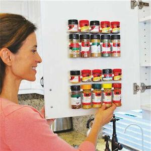 20 Clips Cabinet Door Spice Rack Shelf Holder Kitchen Wall Mount Cupboard
