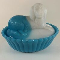 Dog on Nest Blue White Opaque Glass