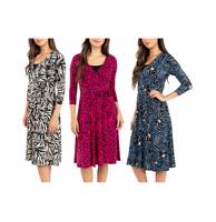 NEW!! Leota Women's Stretch Wrinkle-Free Jersey Fabric Wrap Dress Variety #90