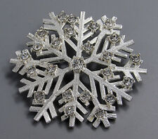 Vintage Jewelry Faceted Crystal Textured Snowflake BROOCH PIN Rhinestone Lot W
