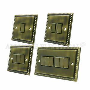 Georgian Antique Brass Light Switch - 10 Amp 1 Gang 2G 3G 4G 2 Way Intermediate