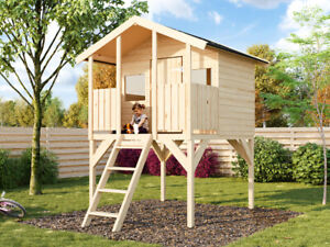 Kinder Spielhaus TOBY Stelzenhaus Spielturm Baumhaus aus Holz 175,5 x 187 x 282
