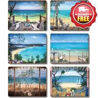 Cinnamon Coastal Verandah Cork Backed Placemats | Set of 6pcs