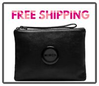 FREE POST MIMCO BLACK MATTE MEDIUM POUCH WALLET COW LEATHER RRP99.95