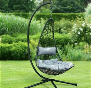 Alfresco New York Hanging Garden Egg Swing Chair With Stand & Cushions Grey