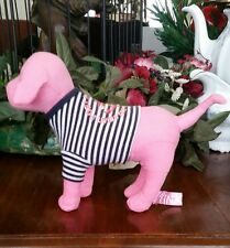 Victoria's Secret Pink plush dog stripe navy/white salior shirt stuffed animal