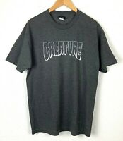 Creature Skateboard T-Shirt Mens Large Tee Logo Outline Charcoal Heather