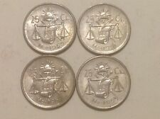 Complete Set of 4 25 Centavos Coins 1950-1953 Mexico Silver Plata Mexican