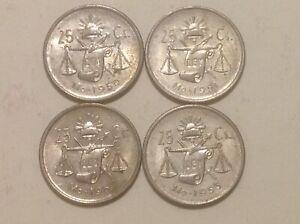 Complete Set of 4 25 Centavos Coins 1950-1953 Mexico Silver Plata Mexican