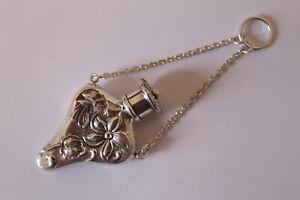 Solid Silver Perfume Bottle. Art Nouveau Style.
