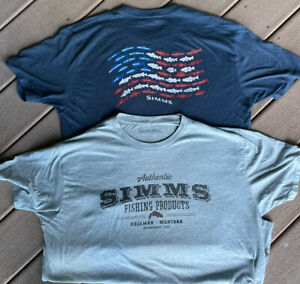 2-Men's L Large SIMMS Fly Fishing T-Shirt Simms USA FISH FLAG & Authentic Tees