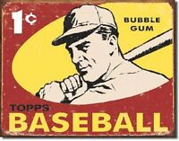 TOPPS BASEBALL 1959 1 Cent Bubble Gum Retro Vintage Weathered MLB Metal Tin Sign