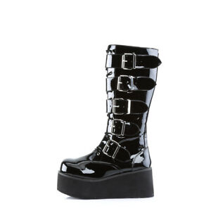 Demonia TRASHVILLE 518 Boots Mens Goth Punk Wedge Black Patent Knee Platform