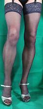 Fabulous Navy Large Size 15 Denier Luxury Lace Top Satin Sheen Stockings