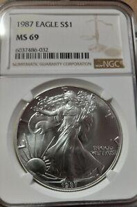 1987 American Eagle Silver Dollar NGC MS69 PQ