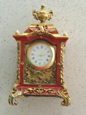 Gold/red Ornate Miniature Clock Casing With Quartz Clock 40 Mm Insert .