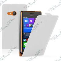 Accessori Cover Custodia Pu Vero pelle bianca per Nokia Lumia 735