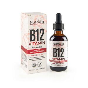 Vitamin B12 Liquid Drops 60ml - High-Strength 5000mcg Methylcobalamin Supplement