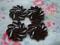 4 Brown Daisy 1940's Plastic Buttons