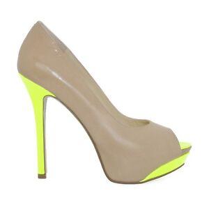 Nude Peep Toe Pumps with Neon Green Heel. Enzo Angiolini's Timga