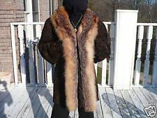 Rare mint brown Swakara & fox Fur Stroller Coat L