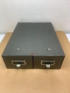 "Yawman Erbe 2 Drawer Library Card Catalog Cabinet Gray 16 1/2"" X 12 1/2"" X 4 1/2"