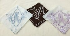 """Lot Of 3 Initial """"M"""" Vintage Hankies Beautiful! - Crafts Collecting"""