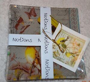 New Glass Plate 5.79 Diameter Notions Bouquet DeFleur & Gold Finch Pillar Plates