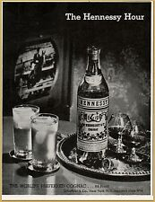 1950  Hennessy Hour Cognac Television Horse Jumping Tray Print Ad