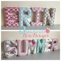 Nursery Fabric Letters Wall Art Handmade name, personalised, girl, boy, padded