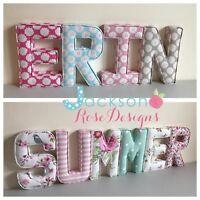 Nursery Fabric Letters Wall Art Handmade name, personalised, girl, boy, padded