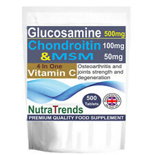 Glucosamine Chondroitin,MSM,Vitamin C,Joints Care 500 Tablets UK Premium Quality