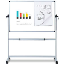 VIZ-PRO Magnetic Mobile White board 44 x 30 In Double-Sided Aluminium Stand