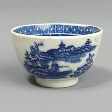 More details for antique caughley miniature blue & white porcelain fisherman tea bowl c.1780