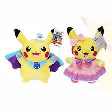 2 Pokemon Styles Pikchu Cosplay Vampire Bat & Pikchu Pink Dress 26CM  Plush