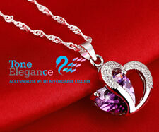 White gold GF sterling silver heart ladies necklace made with swarovski