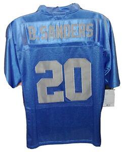 Men's Blue Size Large Throwback Barry sanders Detroit Lions Jersey #20