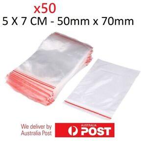 50x Small Zip Lock Plastic Bags  Resealable Zipper New 5cmX7cm WHOLESALE BULK