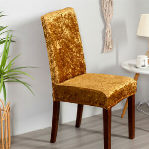 Velvet Chair Covers for Dining Room Stretch Seat Slipcover Chair Protector